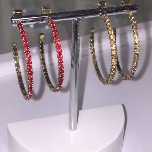 Orecchini Cerchi Medium Swarosky Rosso - Giallo